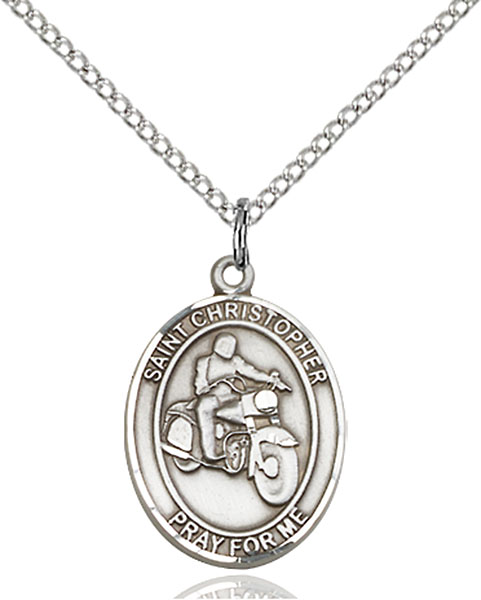 St. Christopher/Motorcycle Pendant St. Christopher/Motorcycle ,Travelers and Motorists,Patron Sports,Motorcycle, sterling silver medals, gold filled medals, patron, saints, saint medal, saint pendant, saint necklace, 8185,7185,9185,7185SS,8185SS,9185SS,7185GF,8185GF,9185GF,