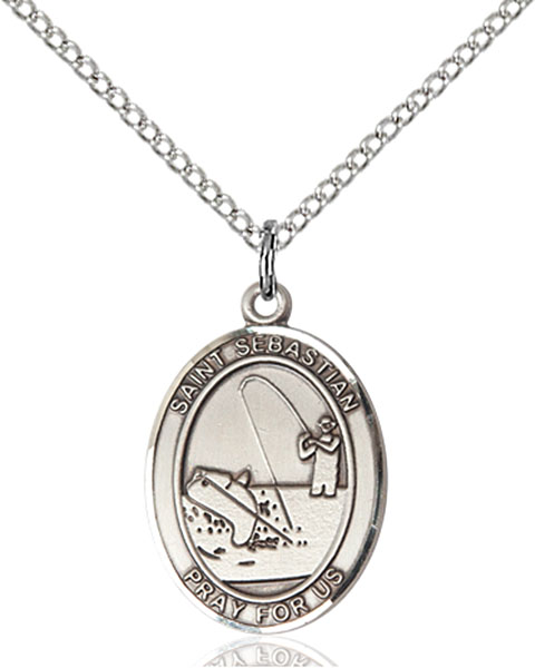 St. Sebastian / Fishing Pendant St. Sebastian / Fishing ,Athletes and Soldiers,Patron Sports,Fishing, sterling silver medals, gold filled medals, patron, saints, saint medal, saint pendant, saint necklace, 8188,7188,9188,7188SS,8188SS,9188SS,7188GF,8188GF,9188GF,