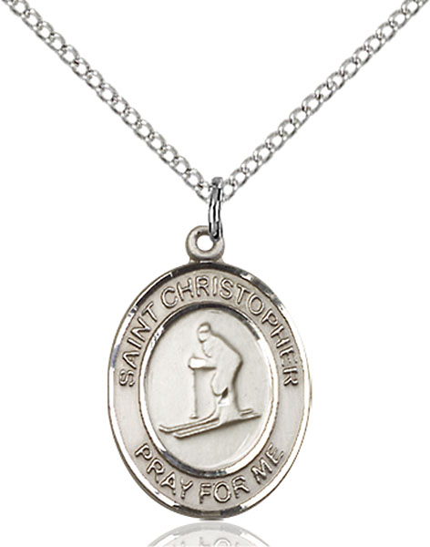 St. Christopher / Skiing Pendant St. Christopher / Skiing ,Travelers and Motorists,Patron Sports,Skiing, sterling silver medals, gold filled medals, patron, saints, saint medal, saint pendant, saint necklace, 8193,7193,9193,7193SS,8193SS,9193SS,7193GF,8193GF,9193GF,