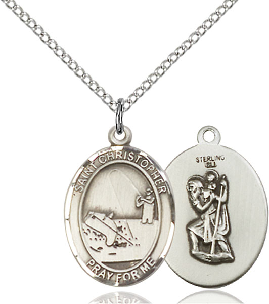 St. Christopher / Fishing Pendant St. Christopher / Fishing ,Travelers and Motorists,Patron Sports,Fishing, sterling silver medals, gold filled medals, patron, saints, saint medal, saint pendant, saint necklace, 8196,7196,9196,7196SS,8196SS,9196SS,7196GF,8196GF,9196GF,