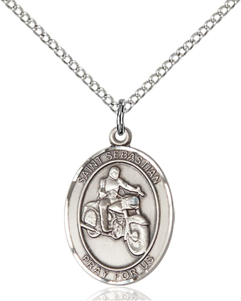 St. Sebastian / Motorcycle Pendant St. Sebastian / Motorcycle ,Athletes and Soldiers,Patron Sports,Motorcycle, sterling silver medals, gold filled medals, patron, saints, saint medal, saint pendant, saint necklace, 8197,7197,9197,7197SS,8197SS,9197SS,7197GF,8197GF,9197GF,