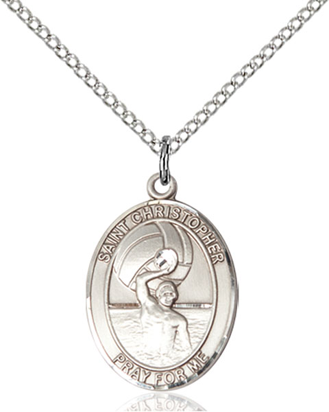 St. Christopher / Water Polo Men Pendant St. Christopher / Water Polo M ,Travelers and Motorists,Patron Sports,Water Polo-Men, sterling silver medals, gold filled medals, patron, saints, saint medal, saint pendant, saint necklace, 8198,7198,9198,7198SS,8198SS,9198SS,7198GF,8198GF,9198GF,