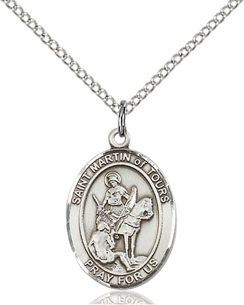 St. Martin of Tours Pendant St. Martin Of Tours ,Reformed Alcoholics,Patron Saints,Patron Saints - M, sterling silver medals, gold filled medals, patron, saints, saint medal, saint pendant, saint necklace, 8200,7200,9200,7200SS,8200SS,9200SS,7200GF,8200GF,9200GF,