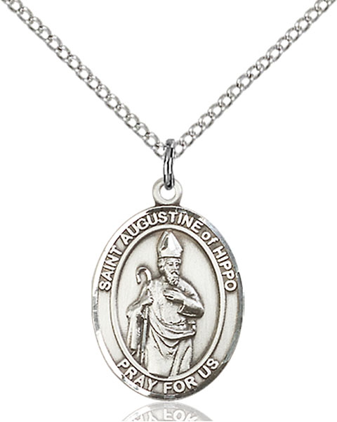 St. Augustine of Hippo Pendant St. Augustine Of Hippo ,Brewers and Theologians,Patron Saints,Patron Saints - A, sterling silver medals, gold filled medals, patron, saints, saint medal, saint pendant, saint necklace, 8202,7202,9202,7202SS,8202SS,9202SS,7202GF,8202GF,9202GF,
