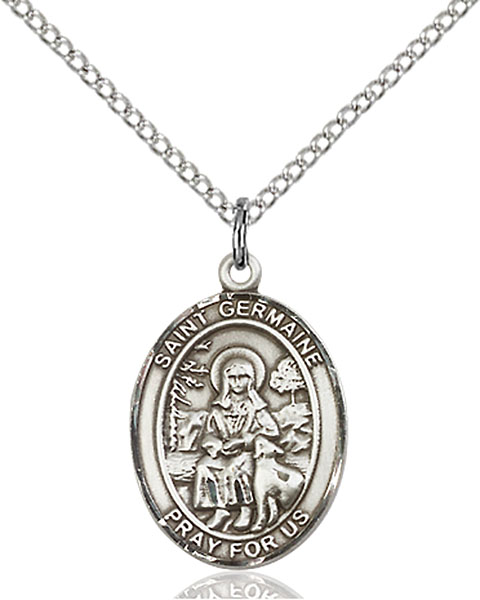 St. Germaine Cousin Pendant St. Germaine Cousin ,Disabled and Abuse Victims,Patron Saints,Patron Saints - G, sterling silver medals, gold filled medals, patron, saints, saint medal, saint pendant, saint necklace, 8211,7211,9211,7211SS,8211SS,9211SS,7211GF,8211GF,9211GF,