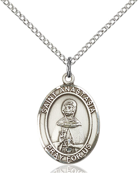 St. Anastasia Pendant St. Anastasia ,Martyrs and Widows,Patron Saints,Patron Saints - A, sterling silver medals, gold filled medals, patron, saints, saint medal, saint pendant, saint necklace, 8213,7213,9213,7213SS,8213SS,9213SS,7213GF,8213GF,9213GF,