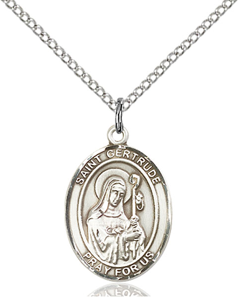 St. Gertrude of Nivelles Pendant St. Gertrude Of Nivelles ,Accommodations and Cats,Patron Saints,Patron Saints - G, sterling silver medals, gold filled medals, patron, saints, saint medal, saint pendant, saint necklace, 8219,7219,9219,7219SS,8219SS,9219SS,7219GF,8219GF,9219GF,