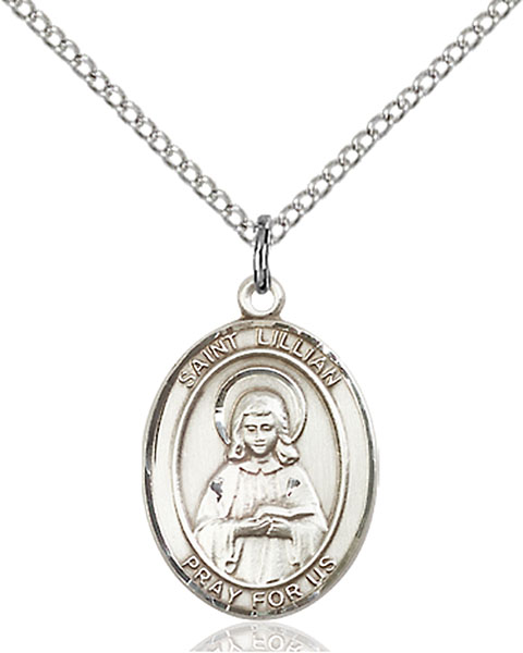 St. Lillian Pendant St. Lillian ,Those Named Lillian,Patron Saints,Patron Saints - L, sterling silver medals, gold filled medals, patron, saints, saint medal, saint pendant, saint necklace, 8226,7226,9226,7226SS,8226SS,9226SS,7226GF,8226GF,9226GF,