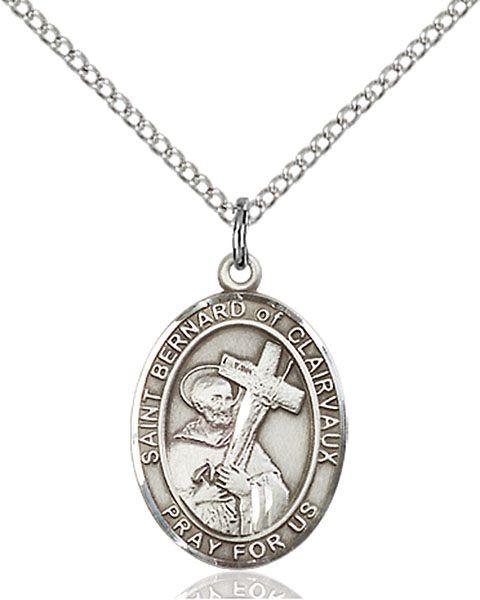St. Bernard of Clairvaux Pendant St. Bernard Of Clairvaux ,Beekeepers and Candlemakers,Patron Saints,Patron Saints - B, sterling silver medals, gold filled medals, patron, saints, saint medal, saint pendant, saint necklace, 8233,7233,9233,7233SS,8233SS,9233SS,7233GF,8233GF,9233GF,