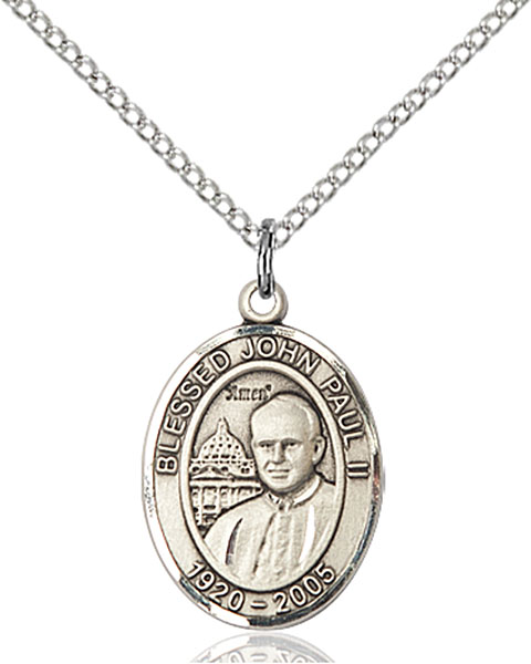 Saint John Paul II Pendant Pope John Paul Ii,Unusual & Specialty,POPE JOHN PAUL II, sterling silver medals, gold filled medals, patron, saints, saint medal, saint pendant, saint necklace, 8234,7234,9234,7234SS,8234SS,9234SS,7234GF,8234GF,9234GF,