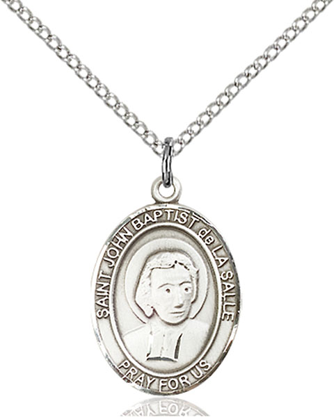 St. John Baptist De La Salle Pendant St. John Baptist De La Salle ,Educators and Teachers,Patron Saints,Patron Saints - J, sterling silver medals, gold filled medals, patron, saints, saint medal, saint pendant, saint necklace, 8262,7262,9262,7262SS,8262SS,9262SS,7262GF,8262GF,9262GF,