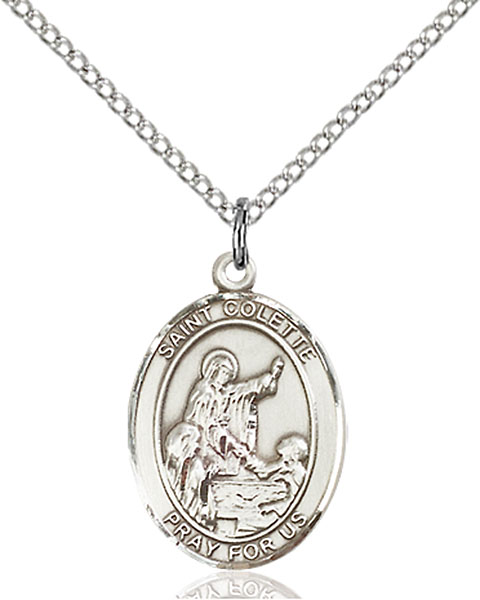 St. Colette Pendant St. Colette ,Loss of Parents,Patron Saints,Patron Saints - C, sterling silver medals, gold filled medals, patron, saints, saint medal, saint pendant, saint necklace, 8268,7268,9268,7268SS,8268SS,9268SS,7268GF,8268GF,9268GF,
