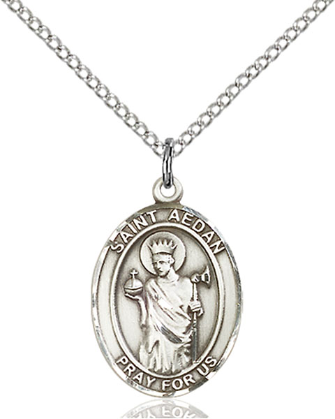 St. Aedan of Ferns Pendant St. Aedan Of Ferns ,Ferns and Ireland,Patron Saints,Patron Saints - A, sterling silver medals, gold filled medals, patron, saints, saint medal, saint pendant, saint necklace, 8293,7293,9293,7293SS,8293SS,9293SS,7293GF,8293GF,9293GF,