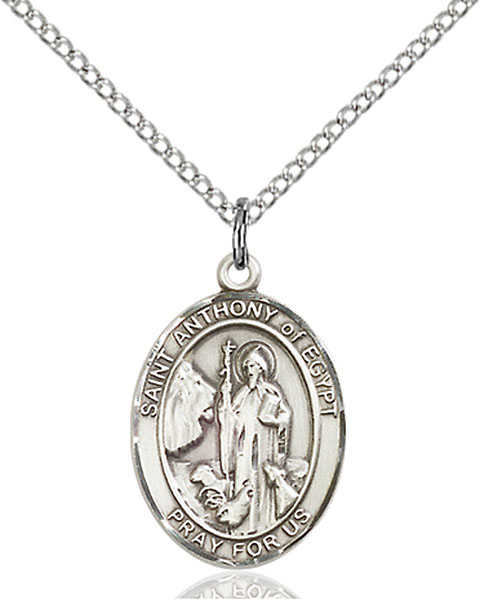 St. Anthony of Egypt Pendant St. Anthony Of Egypt ,Animals and Gravediggers,Patron Saints,Patron Saints - A, sterling silver medals, gold filled medals, patron, saints, saint medal, saint pendant, saint necklace, 8317,7317,9317,7317SS,8317SS,9317SS,7317GF,8317GF,9317GF,
