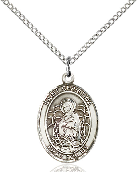 St. Christina The Astonishing Pendant St. Christina The Astonishing ,Psychiatrists and Therapists,Patron Saints,Patron Saints - C, sterling silver medals, gold filled medals, patron, saints, saint medal, saint pendant, saint necklace, 8320,7320,9320,7320SS,8320SS,9320SS,7320GF,8320GF,9320GF,