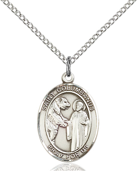 St. Columbanus Pendant St. Columbanus ,Motorcyclists,Patron Saints,Patron Saints - C, sterling silver medals, gold filled medals, patron, saints, saint medal, saint pendant, saint necklace, 8321,7321,9321,7321SS,8321SS,9321SS,7321GF,8321GF,9321GF,