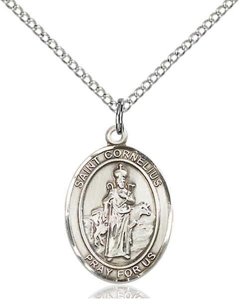 St. Cornelius Pendant St. Cornelius ,Earache and Animals and Epilepsy,Patron Saints,Patron Saints - C, sterling silver medals, gold filled medals, patron, saints, saint medal, saint pendant, saint necklace, 8325,7325,9325,7325SS,8325SS,9325SS,7325GF,8325GF,9325GF,
