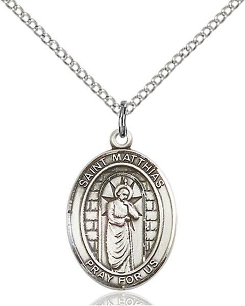 St. Matthias The Apostle Pendant St. Matthias The Apostle ,Alcholism and Carpenters,Patron Saints,Patron Saints - M, sterling silver medals, gold filled medals, patron, saints, saint medal, saint pendant, saint necklace, 8331,7331,9331,7331SS,8331SS,9331SS,7331GF,8331GF,9331GF,