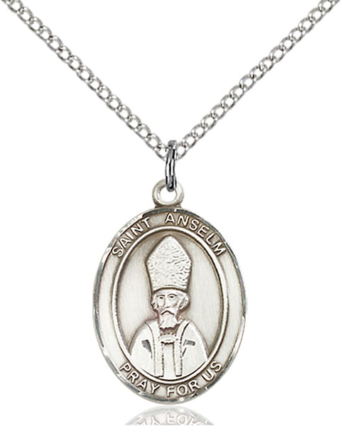 St. Anselm of Canterbury Pendant St. Anselm Of Canterbury,Patron Saints,Patron Saints - A, sterling silver medals, gold filled medals, patron, saints, saint medal, saint pendant, saint necklace, 8342,7342,9342,7342SS,8342SS,9342SS,7342GF,8342GF,9342GF,