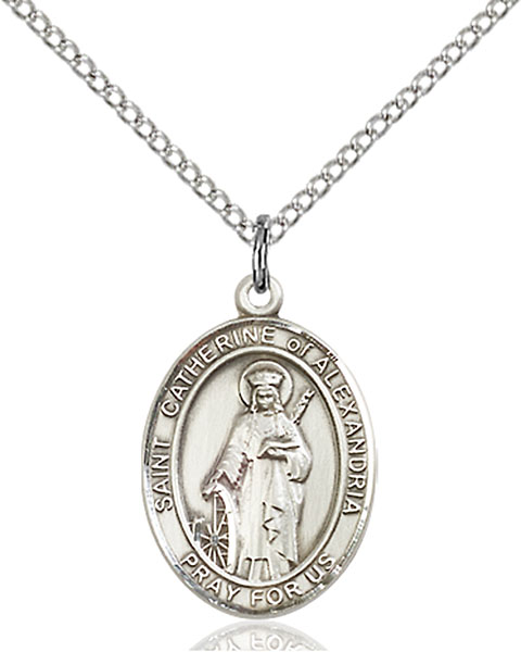 St. Catherine of Alexandria Pendant St. Catherine Of Alexandria ,Librarians and Lawyers,Patron Saints,Patron Saints - C, sterling silver medals, gold filled medals, patron, saints, saint medal, saint pendant, saint necklace, 8343,7343,9343,7343SS,8343SS,9343SS,7343GF,8343GF,9343GF,