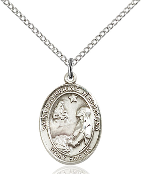 St. Catherine of Bologna Pendant St. Catherine Of Bologna ,Artists and Liberal Arts,Patron Saints,Patron Saints - C, sterling silver medals, gold filled medals, patron, saints, saint medal, saint pendant, saint necklace, 8354,7354,9354,7354SS,8354SS,9354SS,7354GF,8354GF,9354GF,