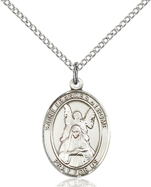 St. Frances of Rome Pendant St. Frances Of Rome ,Motorists,Patron Saints,Patron Saints - F, sterling silver medals, gold filled medals, patron, saints, saint medal, saint pendant, saint necklace, 8365,7365,9365,7365SS,8365SS,9365SS,7365GF,8365GF,9365GF,