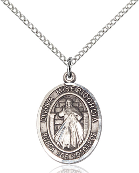 Divina Misericordia Pendant Divina Misericordia,Unusual & Specialty,DIVINE MERCY, sterling silver medals, gold filled medals, patron, saints, saint medal, saint pendant, saint necklace, 8366, spanish medal, spanish necklace,7366 Spanish,9366 Spanish,