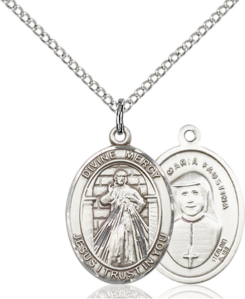 Divine Mercy Pendant Divine Mercy,Unusual & Specialty,Divine Mercy, sterling silver medals, gold filled medals, patron, saints, saint medal, saint pendant, saint necklace, 8366,7366,9366,7366SS,8366SS,9366SS,7366GF,8366GF,9366GF,