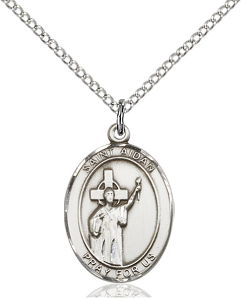 St. Aidan of Lindesfarne Pendant St. Aidan Of Lindesfarne,Patron Saints,Patron Saints - A, sterling silver medals, gold filled medals, patron, saints, saint medal, saint pendant, saint necklace, 8381,7381,9381,7381SS,8381SS,9381SS,7381GF,8381GF,9381GF,