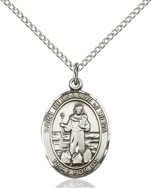 St. Bernadine of Sienna Pendant St. Bernadine Of Sienna ,Advertising and Lung Problems,Patron Saints,Patron Saints - B, sterling silver medals, gold filled medals, patron, saints, saint medal, saint pendant, saint necklace, 8387,7387,9387,7387SS,8387SS,9387SS,7387GF,8387GF,9387GF,