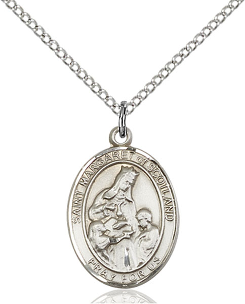 St. Margaret of Scotland Pendant St. Margaret Of Scotland ,Widows and Death of Children,Patron Saints,Patron Saints - M, sterling silver medals, gold filled medals, patron, saints, saint medal, saint pendant, saint necklace, 8407,7407,9407,7407SS,8407SS,9407SS,7407GF,8407GF,9407GF,