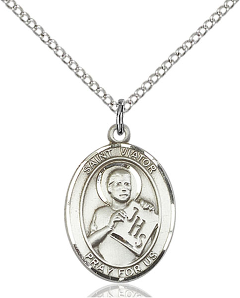 St. Viator of Bergamo Pendant St. Viator Of Bergamo ,Catechists,Patron Saints,Patron Saints - V, sterling silver medals, gold filled medals, patron, saints, saint medal, saint pendant, saint necklace, 8408,7408,9408,7408SS,8408SS,9408SS,7408GF,8408GF,9408GF,
