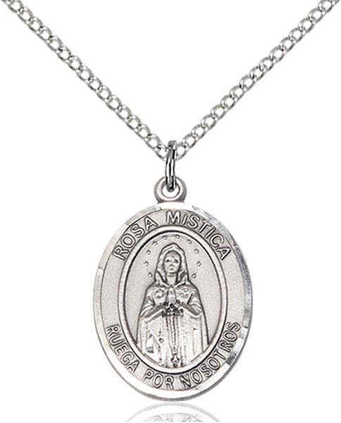 Our Lady Rosa Mystica Pendant O/L Rosa Mystica,Our Lady And Miraculous,Miraculous, sterling silver medals, gold filled medals, patron, saints, saint medal, saint pendant, saint necklace, 8413, spanish medal, spanish necklace,7413 Spanish,9413 Spanish,
