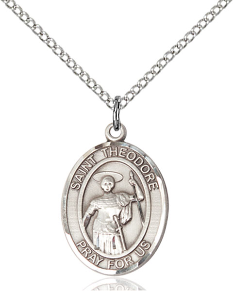 St. Theodore Stratelates Pendant St. Theodore Stratelates ,Brindisi Italy,Patron Saints,Patron Saints - t, sterling silver medals, gold filled medals, patron, saints, saint medal, saint pendant, saint necklace, 8415,7415,9415,7415SS,8415SS,9415SS,7415GF,8415GF,9415GF,