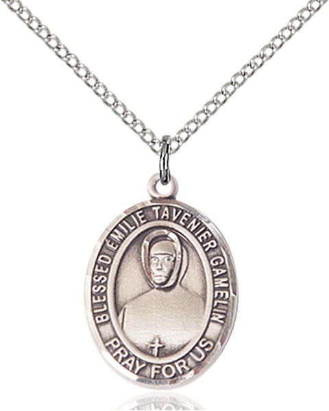 Blessed Emilie Tavernier Gamel Pendant Blessed Emilie Tavernier Gamel,Patron Saints,Patron Saints - G, sterling silver medals, gold filled medals, patron, saints, saint medal, saint pendant, saint necklace, 8437,7437,9437,7437SS,8437SS,9437SS,7437GF,8437GF,9437GF,