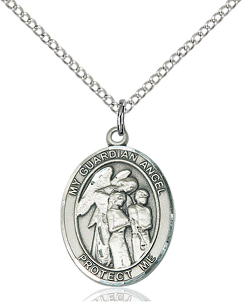 Guardian Angel W/Children Pendant Guardian Angel W/Children,Unusual & Specialty,Angels, sterling silver medals, gold filled medals, patron, saints, saint medal, saint pendant, saint necklace, 8439,7439,9439,7439SS,8439SS,9439SS,7439GF,8439GF,9439GF,