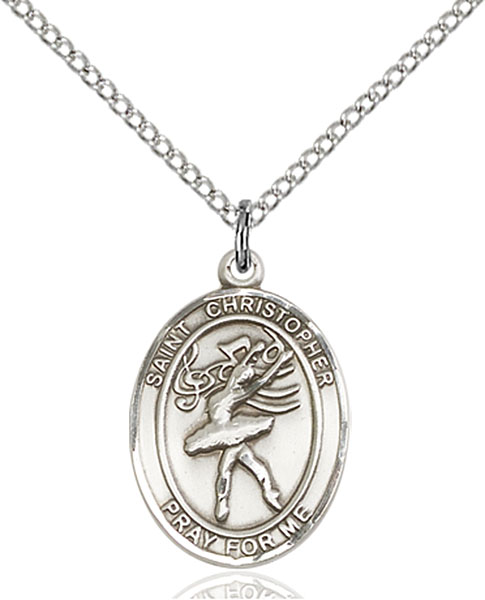 St Christopher / Dance Pendant St Christopher / Dance ,Travelers and Motorists,Patron Sports,Dance, sterling silver medals, gold filled medals, patron, saints, saint medal, saint pendant, saint necklace, 8512,7512,9512,7512SS,8512SS,9512SS,7512GF,8512GF,9512GF,