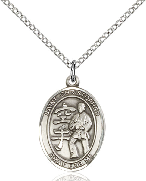 St Christopher / Karate Pendant St Christopher / Karate ,Travelers and Motorists,Patron Saints,Patron Saints - C, sterling silver medals, gold filled medals, patron, saints, saint medal, saint pendant, saint necklace, 8515,7515,9515,7515SS,8515SS,9515SS,7515GF,8515GF,9515GF,