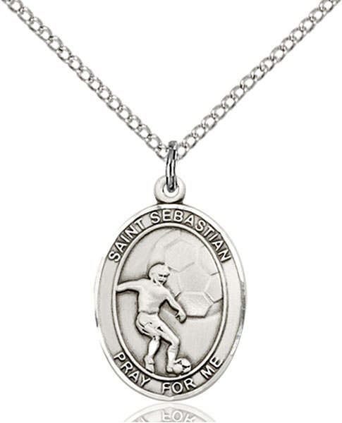 St. Sebastian / Soccer Pendant St. Sebastian / Soccer ,Athletes and Soldiers,Patron Sports,Soccer, sterling silver medals, gold filled medals, patron, saints, saint medal, saint pendant, saint necklace, 8603,7603,9603,7603SS,8603SS,9603SS,7603GF,8603GF,9603GF,