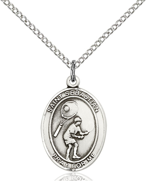 St. Sebastian / Tennis Pendant St. Sebastian / Tennis ,Athletes and Soldiers,Patron Sports,Tennis, sterling silver medals, gold filled medals, patron, saints, saint medal, saint pendant, saint necklace, 8605,7605,9605,7605SS,8605SS,9605SS,7605GF,8605GF,9605GF,