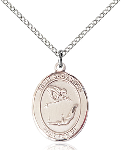 St Sebastian / Gymnastics Pendant St Sebastian / Gymnastics ,Athletes and Soldiers,Patron Sports,Gymnastics, sterling silver medals, gold filled medals, patron, saints, saint medal, saint pendant, saint necklace, 8613,7613,9613,7613SS,8613SS,9613SS,7613GF,8613GF,9613GF,