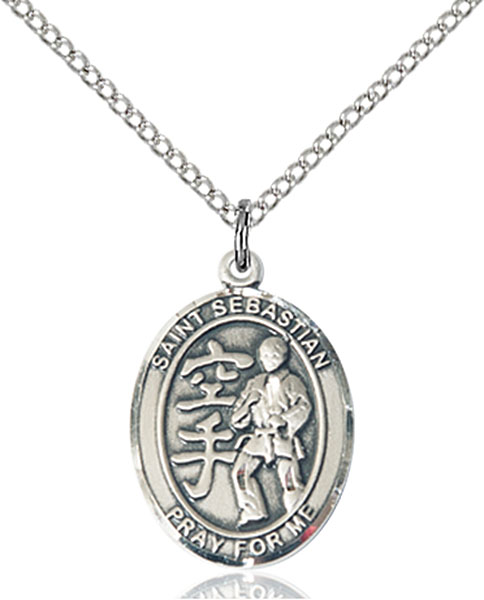 St Sebastian / Karate Pendant St Sebastian / Karate ,Athletes and Soldiers,Patron Saints,Patron Saints - S, sterling silver medals, gold filled medals, patron, saints, saint medal, saint pendant, saint necklace, 8615,7615,9615,7615SS,8615SS,9615SS,7615GF,8615GF,9615GF,