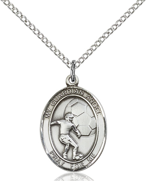 Guardian Angel / Soccer Pendant Guardian Angel / Soccer,Patron Sports,Soccer, sterling silver medals, gold filled medals, patron, saints, saint medal, saint pendant, saint necklace, 8703,7703,9703,7703SS,8703SS,9703SS,7703GF,8703GF,9703GF,
