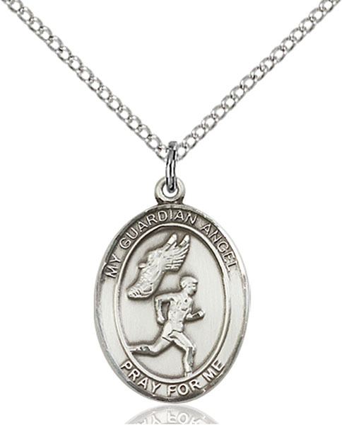 Guardian Angel/Track&Field-Men Pendant Guardian Angel/Track&Field-Men,Patron Sports,Track&Field-Men, sterling silver medals, gold filled medals, patron, saints, saint medal, saint pendant, saint necklace, 8709,7709,9709,7709SS,8709SS,9709SS,7709GF,8709GF,9709GF,