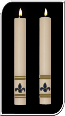 Fleur De Lis Side Altar Candles fleur de lis, Paschal side Candle, Easter Candle, Side Candle, Complementing, Easter, Dadant, resurrection,Lent,Beeswax, candle, Beeswax candle, Easter Vigil, 69833, 69933,69633, 69733, 69836, 69936, 69636, 69736, 69834, 69934, 69634, 69734