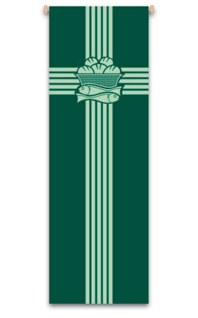 Green Fish and Loaves Banner 7113, 7213, banners, church banners, eucharist banner, fishes and loaves, decoration, church decoration, decor, church decor, wall hangings, sanctuary appointments, appointments