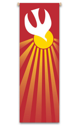 Red Holy Spirit Banner 7115, 7215, banners, church banners, eucharist banner, red, holy spirit, decoration, church decoration, decor, church decor, wall hangings, sanctuary appointments, appointments