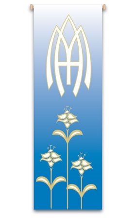 Marian Blue Our Lady Banner 7122, banners, church banners, Mary, Marian, Mother or God, blue, decoration, church decoration, decor, church decor, wall hangings, sanctuary appointments, appointments