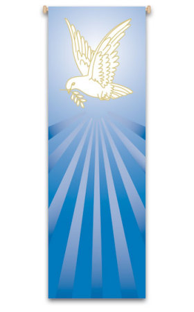 Blue Dove Banner 7123, banners, church banners, blue banner, dove, sacrament banner, decoration, church decoration, decor, church decor, wall hangings, sanctuary appointments, appointments