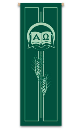 Green Alpha and Omega with Wheat Banner 7127, banners, church banners, green banner, Alpha and Omega Banner, sacrament banner, decoration, church decoration, decor, church decor, wall hangings, sanctuary appointments, appointments